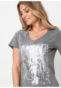 T-shirt bonprix szary melanż. Kolor: szary. Wzór: melanż. Styl: elegancki