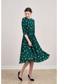 Marie Zélie - Sukienka Livia Domicile. Materiał: bawełna, wiskoza, materiał, tkanina, skóra. Długość rękawa: krótki rękaw
