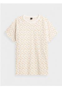outhorn - T-shirt z nadrukiem męski. Okazja: na co dzień. Materiał: bawełna, dzianina, materiał. Długość rękawa: raglanowy rękaw. Wzór: nadruk. Styl: casual