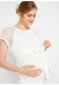 Sukienka ciążowa ślubna bonprix biały. Okazja: na ślub cywilny, na wesele. Kolekcja: moda ciążowa. Kolor: biały. Materiał: koronka. Wzór: koronka #5