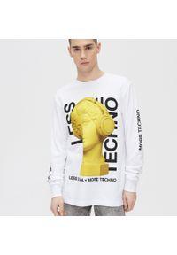 Biały t-shirt Cropp długi, z długim rękawem