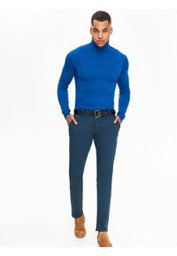 Niebieski sweter TOP SECRET z golfem, na jesień