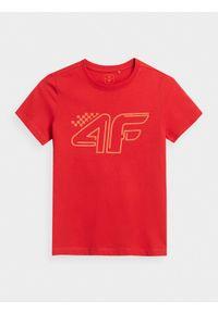 4f - T-shirt z nadrukiem chłopięcy. Kolor: czerwony. Materiał: bawełna, dzianina, materiał. Wzór: nadruk