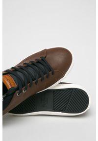 Brązowe sneakersy Pepe Jeans z okrągłym noskiem, z cholewką, na sznurówki