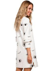 Sukienka MOE prosta, z falbankami, mini, z nadrukiem