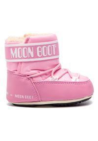 Różowe śniegowce Moon Boot na spacer, z cholewką