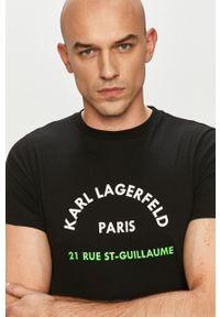 Czarny t-shirt Karl Lagerfeld klasyczny, na co dzień