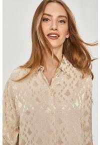 Beżowa koszula Answear Lab na co dzień, długa, z długim rękawem, wakacyjna