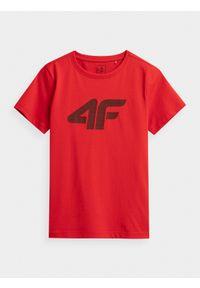4f - T-shirt chłopięcy (122-164). Kolor: czerwony. Materiał: bawełna, materiał