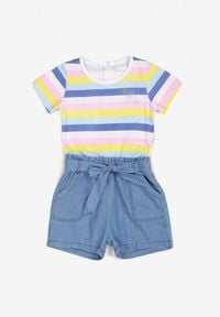 Born2be - Niebiesko-Granatowy Kombinezon Galixine. Kolor: niebieski. Materiał: jeans, guma. Długość rękawa: krótki rękaw. Wzór: aplikacja, paski, kolorowy. Sezon: lato
