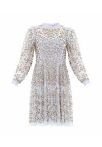 NEEDLE & THREAD - Cekinowa sukienka mini Mirabelle. Kolor: niebieski. Materiał: szyfon, materiał. Typ sukienki: rozkloszowane. Długość: mini