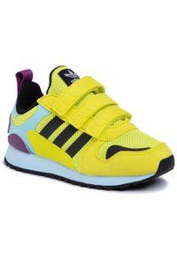 Żółte półbuty Adidas na spacer, z cholewką, na rzepy