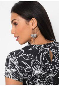 Sukienka bonprix czarno-biel wełny w kwiaty. Kolor: czarny. Materiał: wełna. Wzór: kwiaty. Typ sukienki: ołówkowe
