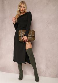 Renee - Czarna Sukienka Gyleanor. Kolor: czarny. Materiał: dzianina. Typ sukienki: dopasowane. Długość: midi