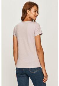 Fioletowa bluzka Levi's® na co dzień, casualowa, z okrągłym kołnierzem