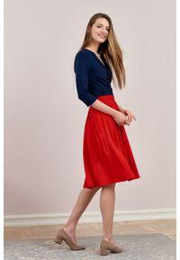 Marie Zélie - Spódnica Letycja wiśniowa. Kolor: czerwony. Materiał: wiskoza, dzianina, materiał, elastan