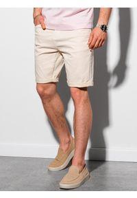 Ombre Clothing - Krótkie spodenki męskie casual W303 - jasnobeżowe - XXL. Okazja: na co dzień. Kolor: beżowy. Materiał: elastan, tkanina, bawełna. Długość: krótkie. Sezon: lato. Styl: casual