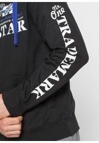 Czarna bluza bonprix z kapturem, z aplikacjami