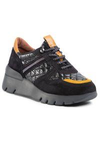 Czarne buty sportowe Hispanitas z cholewką, na koturnie, na średnim obcasie