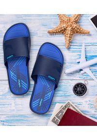 Niebieskie klapki na basen LANO na obcasie, na plażę