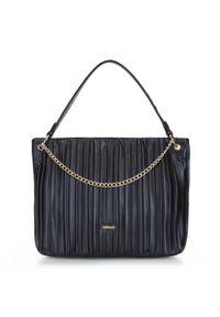 Czarna torebka worek Wittchen z aplikacjami, elegancka, skórzana