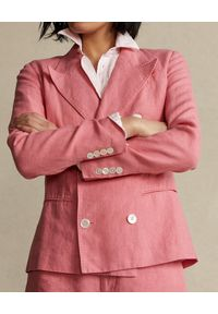 Ralph Lauren - RALPH LAUREN - Różowa dwurzędowa marynarka Straight fit. Typ kołnierza: polo. Kolor: wielokolorowy, różowy, fioletowy. Materiał: tkanina. Długość rękawa: długi rękaw. Długość: długie. Wzór: aplikacja
