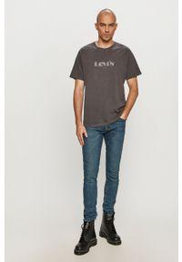 Szary t-shirt Levi's® biznesowy, z nadrukiem, na spotkanie biznesowe