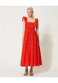 TwinSet - TWINSET - Czerwona maxi sukienka z haftem. Typ kołnierza: kołnierz z falbankami. Kolor: czerwony. Materiał: bawełna. Wzór: haft. Styl: elegancki. Długość: maxi