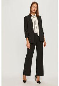 Czarne spodnie materiałowe DKNY na co dzień, casualowe, z podwyższonym stanem