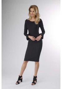 Czarna sukienka wizytowa Nommo ołówkowa, wizytowa