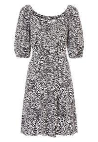 Sukienka bonprix czarno-biały zebra. Typ kołnierza: dekolt w karo. Kolor: czarny. Wzór: motyw zwierzęcy. Długość: midi