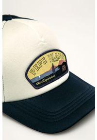 Niebieska czapka z daszkiem Pepe Jeans z aplikacjami