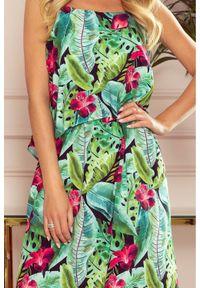 Sukienka koktajlowa Numoco w kwiaty, na ramiączkach, maxi