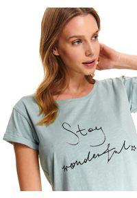 Zielony t-shirt DRYWASH casualowy, z napisami