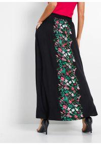 Czarna spódnica bonprix długa, w kwiaty