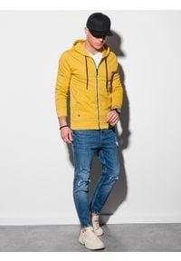 Ombre Clothing - Bluza męska rozpinana z kapturem B1152 - żółta - XXL. Typ kołnierza: kaptur. Kolor: żółty. Materiał: poliester, bawełna