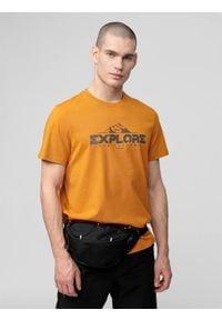 4f - T-shirt męski. Kolor: żółty. Materiał: dzianina, bawełna. Wzór: nadruk