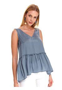 Niebieska bluzka TOP SECRET z dekoltem w serek, z krótkim rękawem