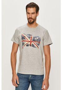 Szary t-shirt Pepe Jeans z okrągłym kołnierzem, z nadrukiem