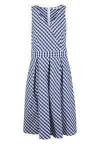 Sukienka midi bonprix niebiesko-biały w kratę. Kolor: niebieski. Długość: midi