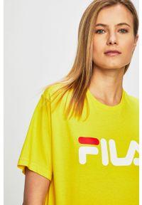 Żółty t-shirt Fila z nadrukiem, na co dzień, casualowy