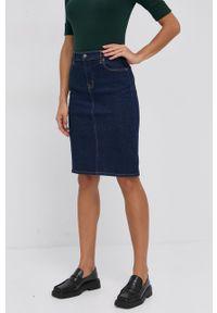 Lauren Ralph Lauren - Spódnica jeansowa. Okazja: na co dzień. Kolor: niebieski. Materiał: jeans. Wzór: gładki. Styl: casual