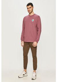Fioletowa koszulka z długim rękawem Vans na co dzień, z nadrukiem, casualowa