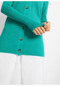 Sweter rozpinany w ażurowy wzór bonprix szmaragdowy. Kolor: zielony. Wzór: ażurowy #6