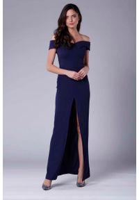 Niebieska sukienka wieczorowa Nommo maxi
