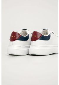Białe buty sportowe U.S. Polo Assn z okrągłym noskiem, na sznurówki, z cholewką