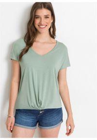 Shirt z dżerseju, dekolt w serek bonprix dymny zielony. Typ kołnierza: dekolt w serek. Kolor: zielony. Materiał: jersey