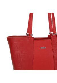 Czerwona shopperka Wittchen w geometryczne wzory, z tłoczeniem, klasyczna