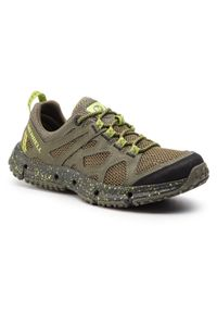 Zielone buty trekkingowe Merrell trekkingowe, z cholewką