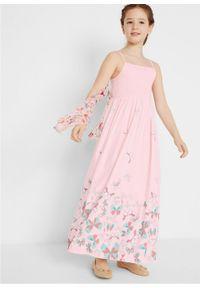 Długa sukienka dziewczęca bonprix bladoróżowy. Kolor: różowy. Długość: maxi #4